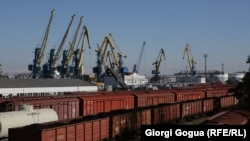 Georgia -- Freight trains at the Black Sea port of Poti.