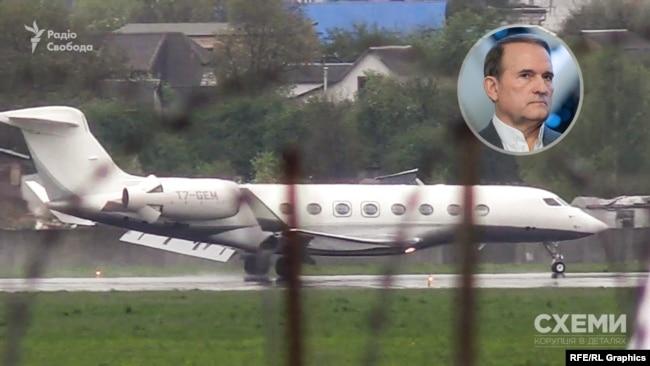 7 травня журналісти зафіксували, як в аеропорту «Київ» сів приватний літак, який прибув із аеропорту Ужгорода