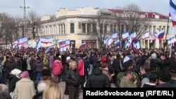 The rally in Simferopol, in Crimea, on March 9 by pro-Russian activists supporting a referendum on joining Russia.