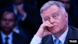 The former president of Russian Railways, Vladimir Yakunin, attends a session of the St. Petersburg International Economic Forum 2016 in St. Petersburg in June.