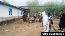 Работы в селе Халкаджар после стихии