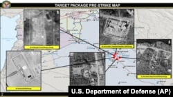 IRAQ -- An image provided by the U.S. Department of Defense, shows aerial images of sites that were to be targeted in U.S. airstrikes in Iraq. Al-Saqr base is in the plan. March 13, 2020