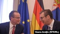 Zvaničnik Bundestaga Ginther Krihbaum i Aleksandar Vučić u Beogradu,11. maja 2018.