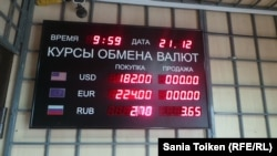 На табло с курсами валют не указана цена продажи доллара и евро. Актау, 21 декабря 2014 года.