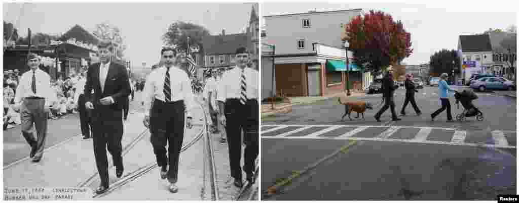 Left photo: U.S. Congressman John F. Kennedy (second from left) walking in the Bunker Hill Day Parade in Charlestown, Massachusetts, on June 17, 1950. Right photo: Pedestrians cross Bunker Hill Street at the same spot on November 10, 2013.