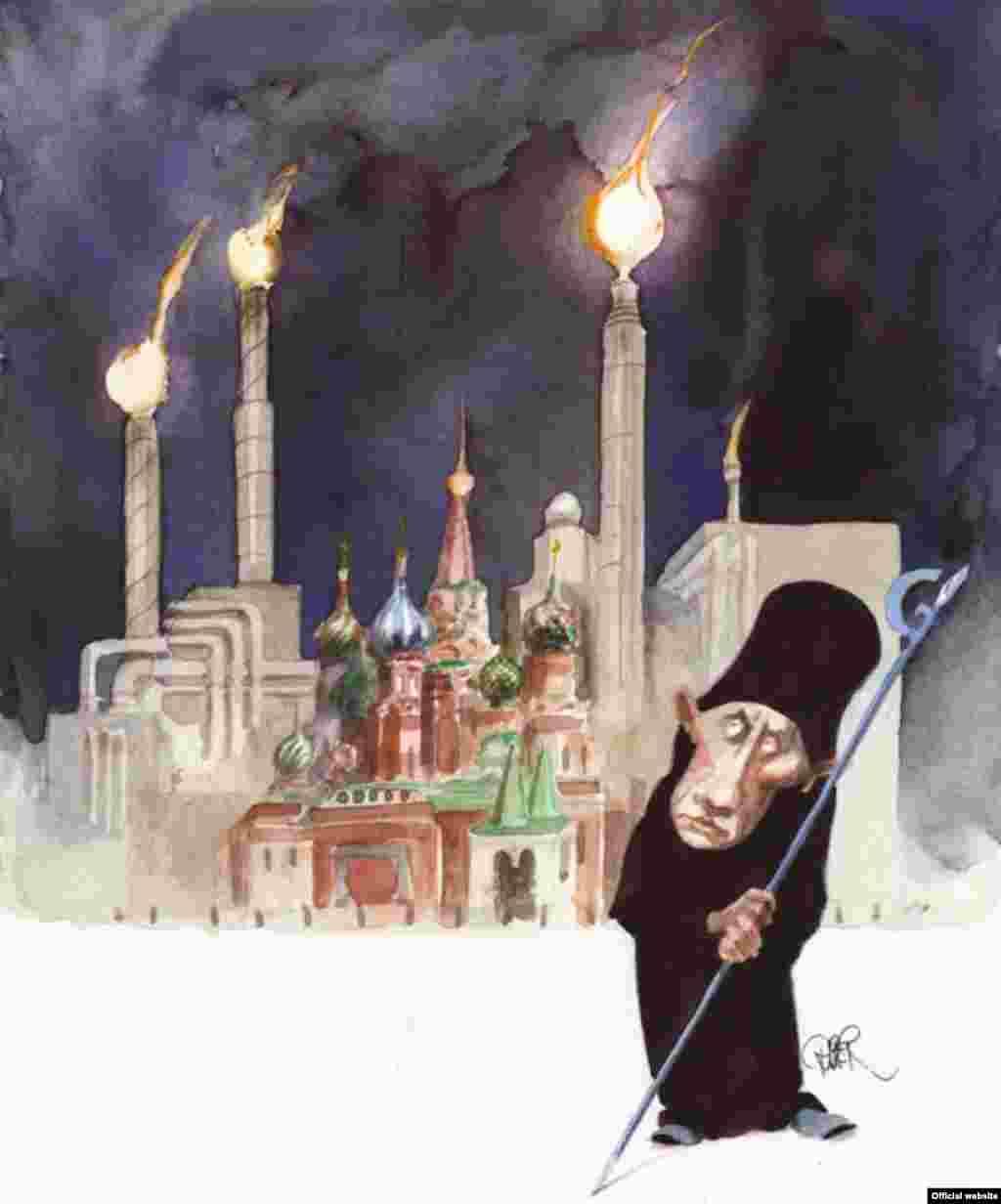 Фрагмент карикатури Рібера Ганссона (Швеція), добре відомого в світі карикатуриста, який з 2007 року декілька разів перемагав у конкурсі, й посів друге місце у конкурсі «Диявольська бензоколонка»