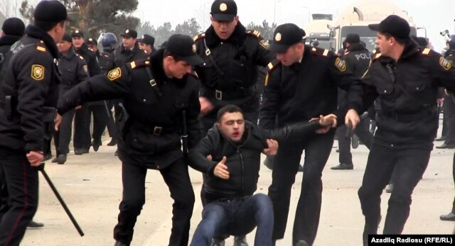 Clashes erupted between police and demonstrators protesting rent increases at Azerbaijan's largest shopping center on January 19.