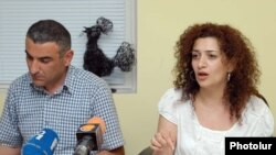 """""""Haykakan zhamanak"""" publisher Anna Hakobian (right) called the move """"yet another step against the newspaper."""""""