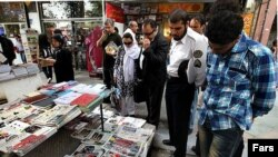 Iran -- A newsstand in Tehran, 17 April 2014.