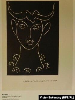 """Desen de Matisse, ilustrație la volumul """"Pasiphaé"""" de Montherlant (expus la Evian)"""