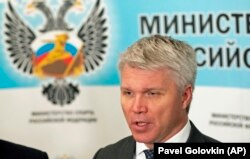 Russian Sports Minister Pavel Kolobkov speaks to the media in Moscow in July.