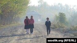 Школьники в Пайарыкском районе Самаркандской области. Иллюстративное фото.
