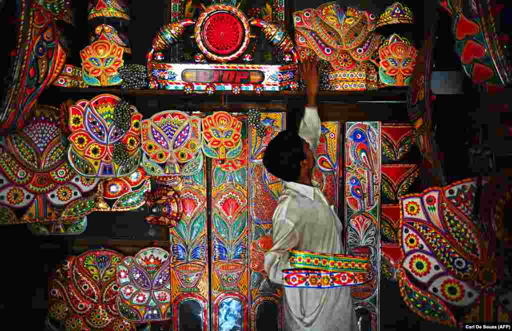 Premade decorations for sale in Rawalpindi, where truck decoration is big business.