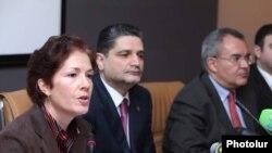 Премьер-министр Армении Тигран Саргсян и посол США в Армении Мари Йовович принимают участие в обсуждениях, посвященных армяно-турецким отношениям, Ереван, 12 февраля 2010 г.