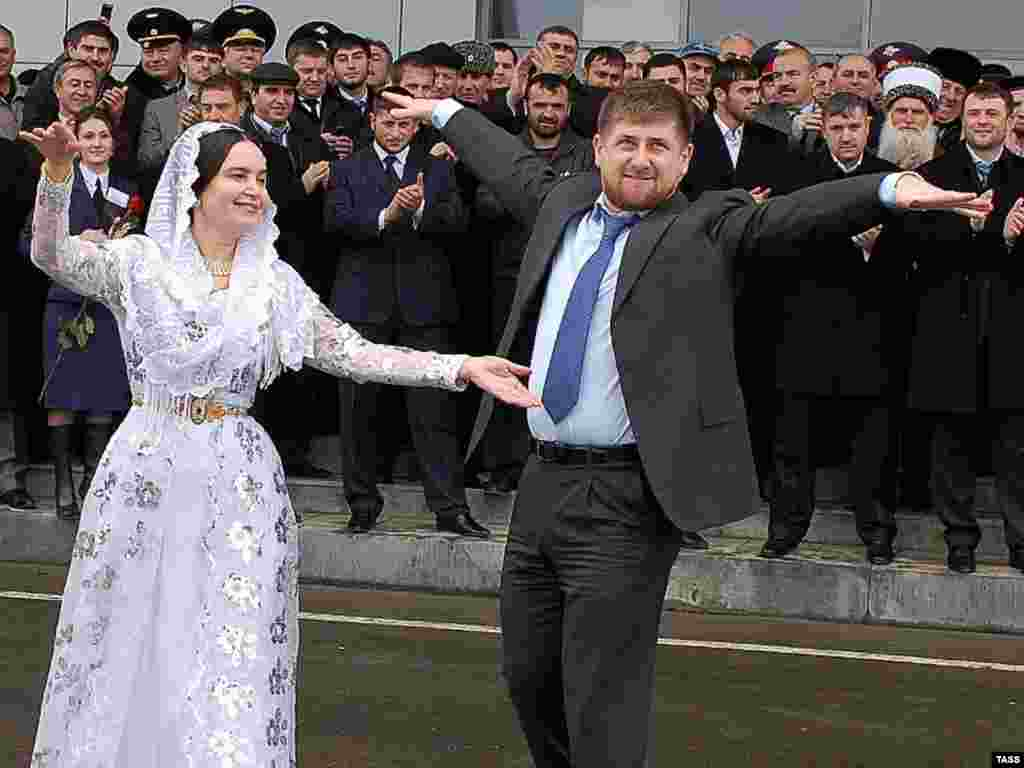 Chechen leader Ramzan Kadyrov took a local dancer for a twirl at Grozny Airport in March 2007 when he arrived to greet a Tu-134 jet bringing passengers from Moscow on the first regularly scheduled civilian flight to land in Chechnya since 1998.