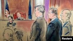 Paul Manafort (shown in dark suit in drawing) stands before Judge T.S. Ellis during his 2018 trial.
