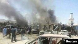 Pamje pas një sulmi të mëparshëm me bombë në provincës Paktika në Afganistan