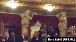 Stipe Mesić, Ivo Josipović, Grabar Kitarović, episkop Porfirije i biskup Ivan Šaško na proslavi u zagrebu