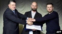 Зліва направо: Олег Тягнибок, Андрій Тарасенко та Андрій Білецький
