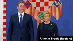 Presidenti i Serbisë, Aleksandar Vuçiq, dhe presidentja e Kroacisë, Kolinda Grabar Kitaroviq. Zagreb, 12 shkurt 2018.