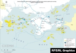 На схеме размещения нефтегазовых месторождений в Черном и Азовском морях желтым обозначены аннексированные участки