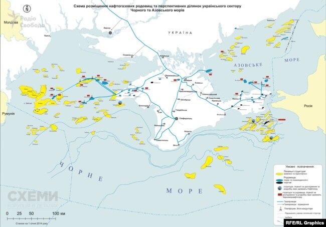 На схемі розміщення нафтогазових родовищ в Чорному та Азовському морях жовтим позначені анексовані ділянки