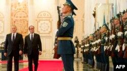 Қазақстан президенті Нұрсұлтан Назарбаев пен Франция президенті Франсуа Олланд. Астана, 5 желтоқсан 2014 жыл.