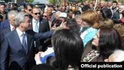 Armenia - President Serzh Sarkisian campaigns in centrak Kotayk province, 30Apr2012.