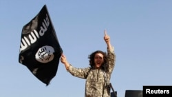 A militant waves the Islamic State flag in Syria's northern Raqqa Province. (file photo)