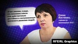 Так называемая «министр экономики «ЛНР» Елена Костенко
