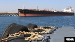 An oil tanker near Kharg Island, a major oil-export terminal for Iran.