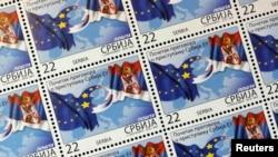 Poštanske marke sa zastavama Srbije i EU
