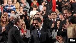 Премиерот Никола Груевски на промоцијата на партискиот кандидат за градоначалник на Скопје Коце Трајановски.