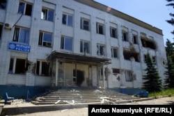 Здание отдела милиции, освобожденное после атаки сепаратистов