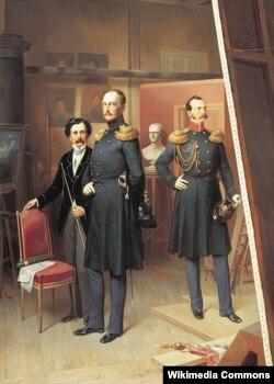 Богдан Виллевальде. Николай I с цесаревичем Александром Николаевичем в мастерской художника в 1854 году.