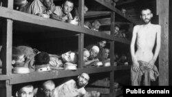Бухенвальд концлагеріндегі жұмысшы еврейлер. Германия, 16 сәуір 1945 жыл. (Көрнекі сурет)