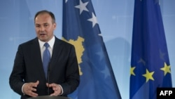 Germany -- Kosovo's Foreign Minister Enver Hoxhaj addresses a press conference in Berlin, 16Apr2013