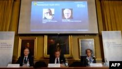 Нобель комитетінің жюриі физика бойынша сыйлықтың Питер Хиггс пен Франсуа Энглертке тапсырылғаны туралы хабарлап отыр. Стокгольм, 8 қазан 2013 жыл