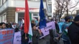 Tajik opposition activists rally in Berlin on December 10.