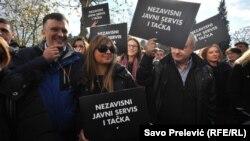Protest protiv političkih pritisaka na RTCG, Podgorica, 27. decembar 2017.