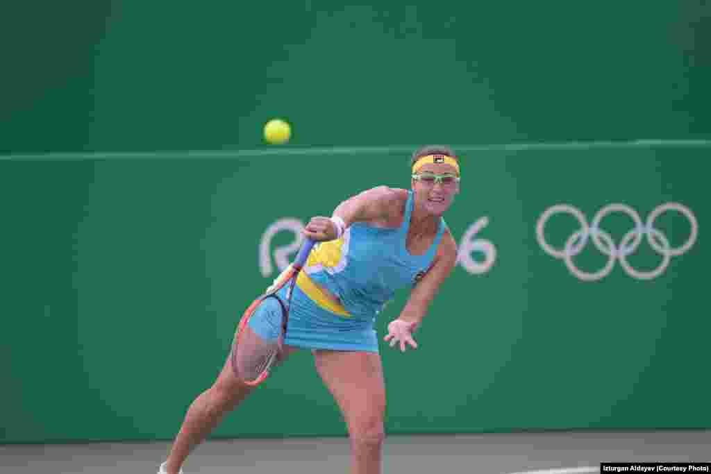 Қазақстандық теннисші Ярослава Шведова жекелей жарыстың бірінші айналымында жапониялық Мисаки Доидан жеңіліп, жарыстан шығып қалды. Рио-де-Жанейро, 7 тамыз 2016 жыл.