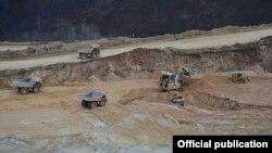 Armenia - Open-pit mining at Teghut copper deposit, 20Dec2014.