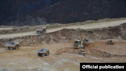 Armenia - Open-pit mining at Teghut copper deposit, 20Dec2014.