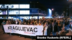 Antigovernment protesters take to the streets in the the southern Serbian town of Kragujevac on March 23.