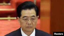 Қытай коммунистік партиясының бас хатшысы Ху Цзиньтао құрылтай кезінде. Пекин, 8 қараша 2012 жыл.