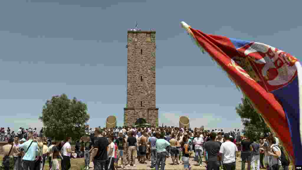 Ethnic Serbs gather to celebrate St. Vitus Day in Gazimestan, Kosovo, on June 28.