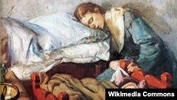 Крысьціян Крог, «Заснулая маці зь дзіцём» (1883).