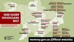 Нові назви українських міст після перейменувань за станом на 20 травня 2016 року. Інфографіка Українського інституту національної пам'яті