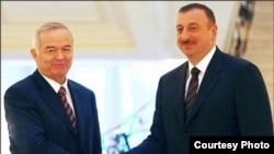 Ислом Каримов Илҳом Алиев билан бирга.