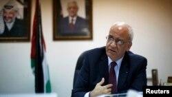 Palestinanyň uly derejeli gepleşikçisiSaýeb Erekat. Arhiw suraty